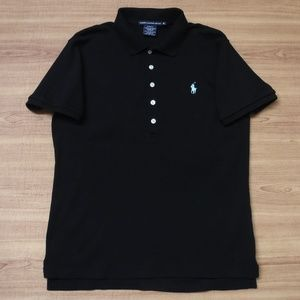 Ralph Lauren Slim Fit Blue Pony Black Polo Shirt